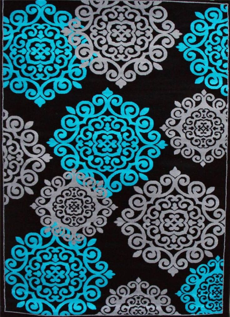Details About 776 Turquoise Gray Black 5x7 8x10 Area Rugs