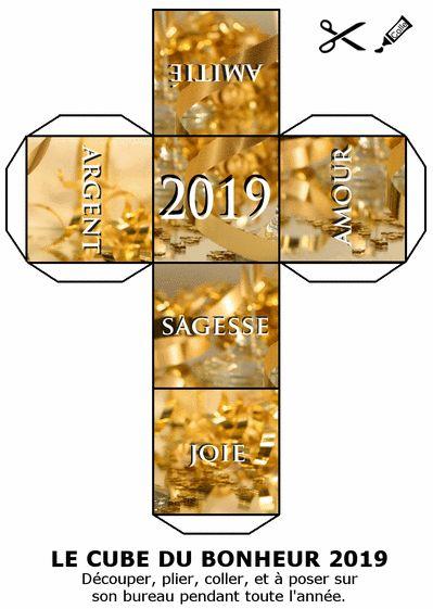Carte postale Le cube du bonheur pour la nouvelle année 2019 Carte de voeux ori…
