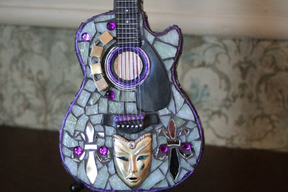 mosaic guitar penny bank by TeenyPiecesMosaics on Etsy