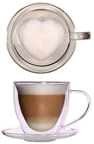Thermo-Herztasse - 350ml große doppelwandige Glastasse mit Untersetzer - edle und extra große Glas-Teetasse / Kaffeetasse mit Schwebeeffekt, Glastasse mit Herzform innen, Henkel und Untersetzer, Celissimo zu Weihnachten, zum Valentinstag, zum Muttertag
