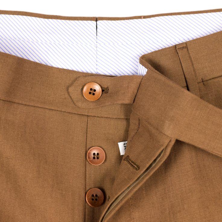 Rota Tobacco brown Irish linen trousers - 13 oz