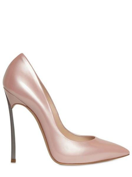 Casadei Shiny Patent Blade Heel Pumps in Pink