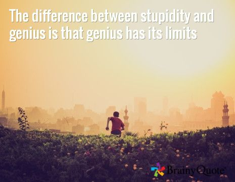 The difference between stupidity and genius is that genius has its limits