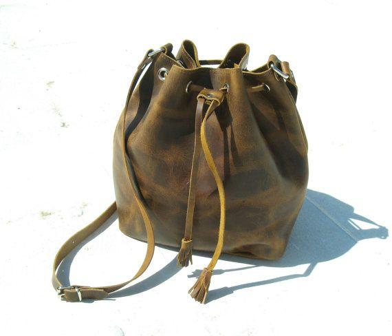 Leather bucket  Womens Handbag10 COLOURS/Bucket by EATHINI on Etsy