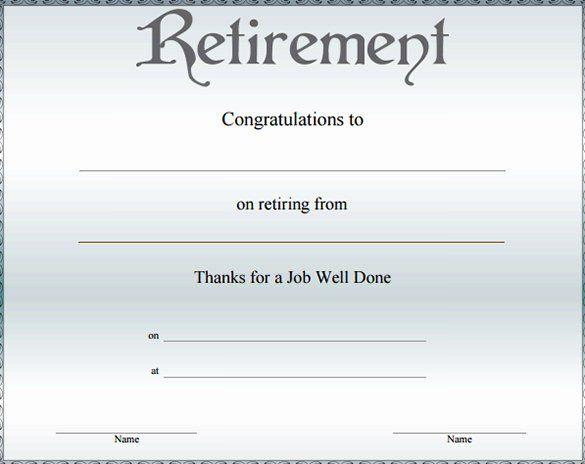Certificate Of Retirement Template Elegant Free 7 Sample Retirement Certificate Templates In Pdf Retirement Certificate Award Template Certificate Templates