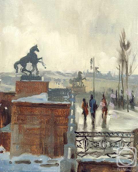 Saint Petersburg by Konstantin Sterkhov, watercolor_Стерхов Константин. Аничков мост. акварель