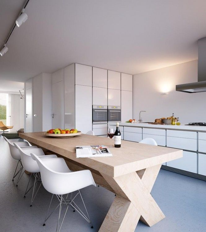 Modern white kitchen diner with wood and white dining charirs