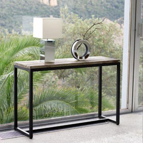 Consola industrial de metal y madera maciza negra 119cm de largo