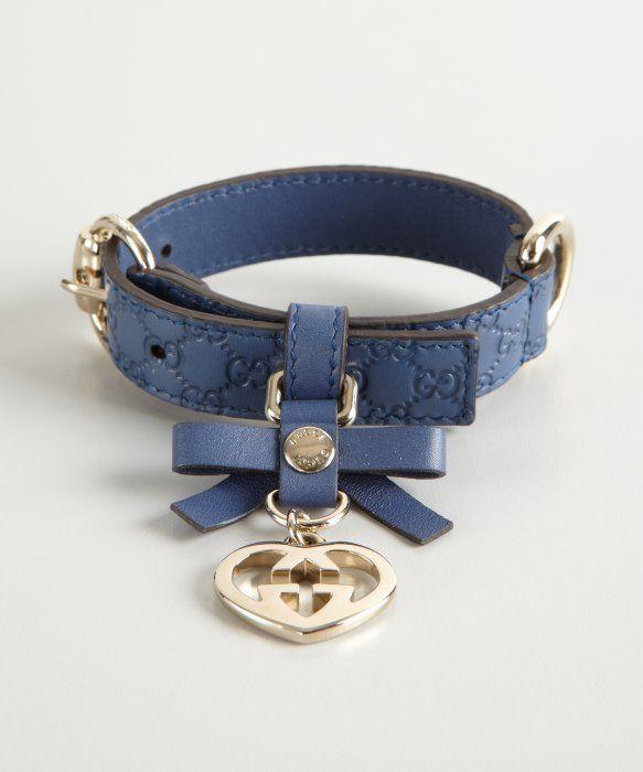 Gucci blue guccissima leather heart charm dog collar