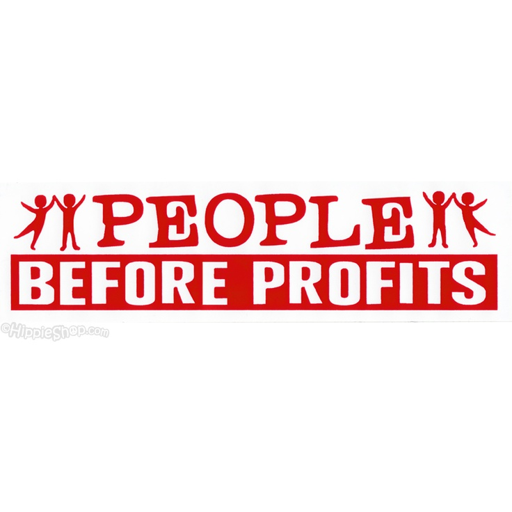 People before profits bumper sticker