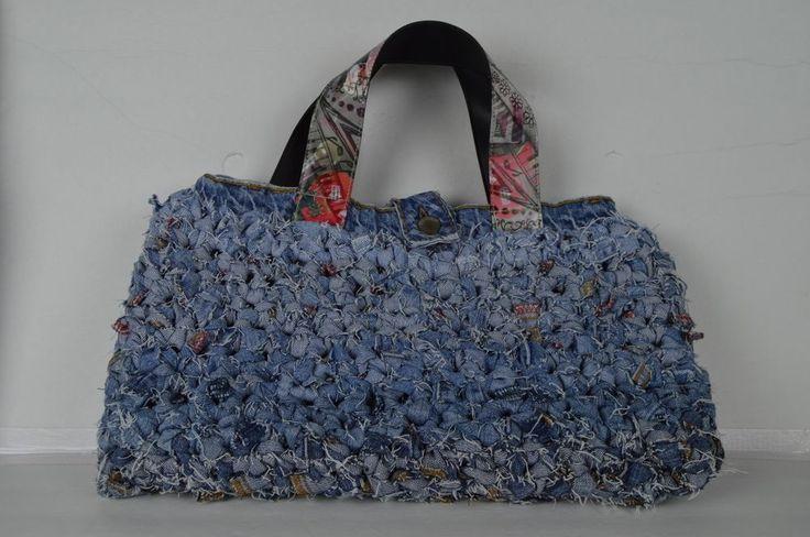 Upcycled Handmade Denim Tag Rag woven crocheted  Bag Purse Pockets inside  #Handmade #TotesShoppers