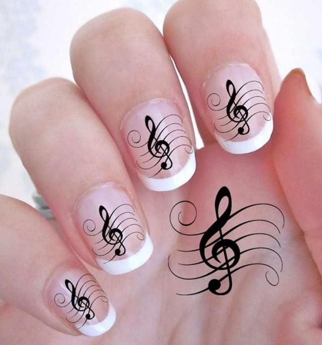 42 Treble Clef Music Note Nail Art Decals Rock G Clef Waterslide Quality Nails blackandwhite gift