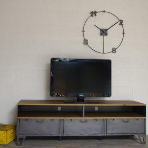Meuble Tv Metal Industriel 3 Clapets Militaires Niches Idees Deco