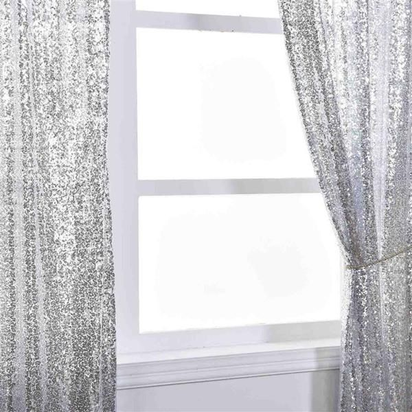 Sequined Window Curtains Drapes Panels Backdrop Leilani