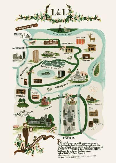 Pretty Wedding Maps! #map