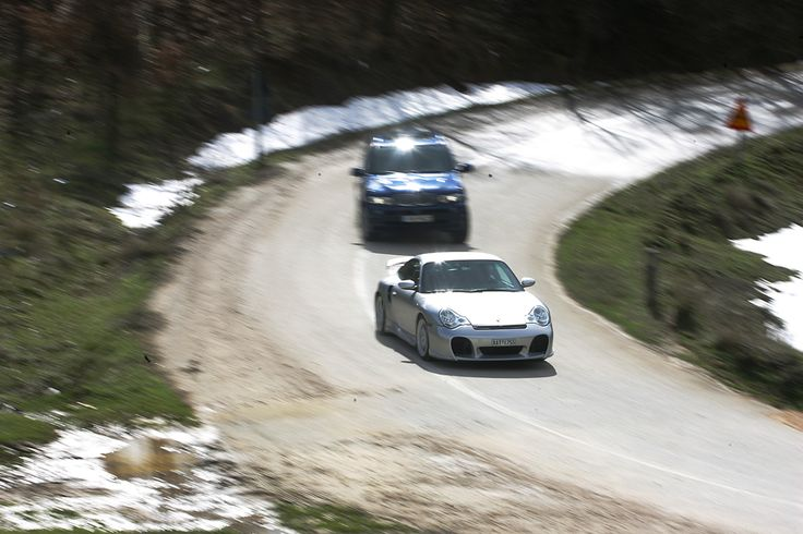 Bralos Mountain. Greece. X5 4.8 is chasing (sic) 996 Turbo.