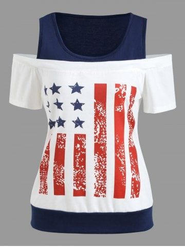b1193c369b12b6 Shop for White 2xl Patriotic American Flag Print T-shirt online at $18.11  and discover fashion at RoseGal.com Mobile
