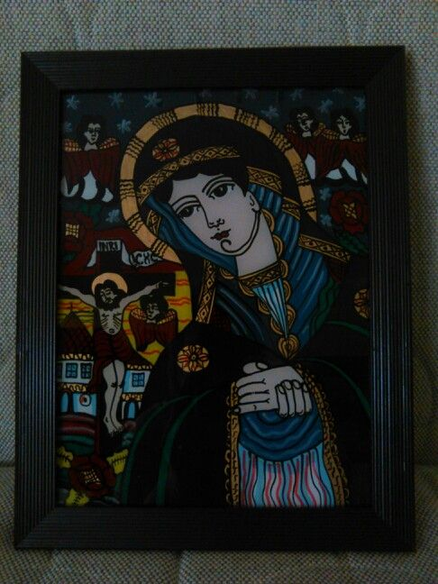 Ortodox painted icon on glass - Mother's pray