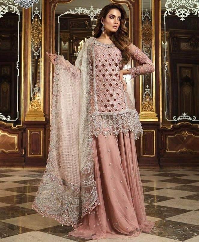 a628fe6d31b Pakistani Bridal Sharara in Beautiful Baby Pink Color By Maria B with  Cutwork Jaal