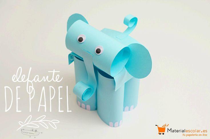 Elefante hecho con #MaterialEscolar - ¿Quieres ver cómo se hace? #ManualidadesEscolares