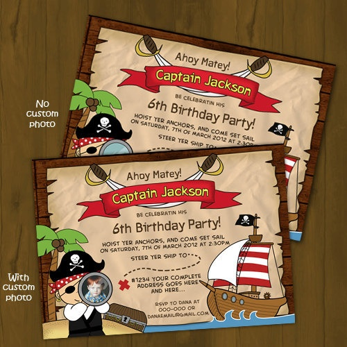 "PIRATE BIRTHDAY INVITATION - PIRATE, TREASURE MAP AND PIRATE SHIP - Pirate themes make every little boy's party a lot of fun! Invite guests over for a swim or just a simple ""home"" party with a treasure map invitation, revealing your address as ""where X marks the spot"".Suitable for: Boys"