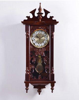 Европейский резьба по дереву ремесла творческий ретро роскошные кварцевые часы высокого класса зеленый старинные коричневый гостиная спальня настенные часы