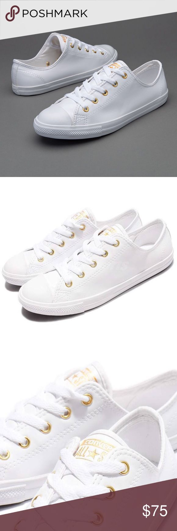 📍FLASH SALE📍CONVERSE WHITE WOMENS SIZE 9 GOLD New without box Converse Shoes Sneakers