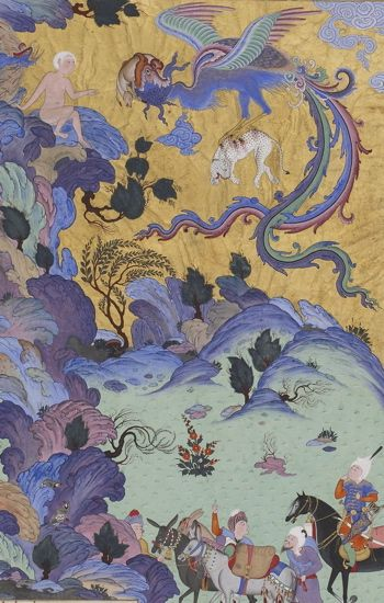 Seemorgh and Zaal, 16th century Persian miniature