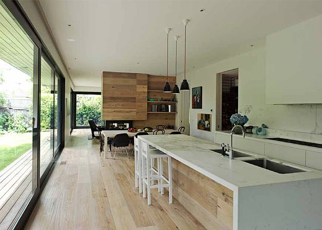 Royal Oak Flooring Aged Smoked and Limed in the Tree House | Susi Leeton Architects