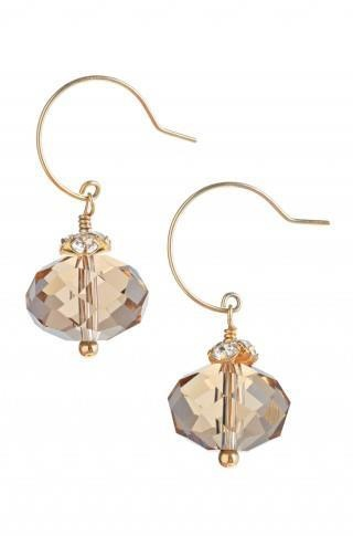 "Regular Price $26    Stone drops with intricate facets dangle from pave petals on a round-shaped wire.   •Approximately ¾"" drop length with gold vermeil earwire.   •Lead & nickel safe."