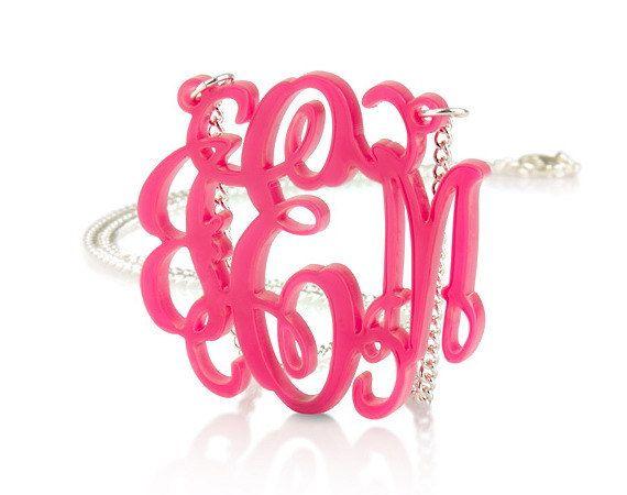 "Monogram Necklace 1.6"" Acrylic - Custom Made. $19.99, via Etsy."