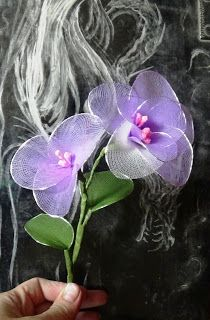Stocking flowers as they are: Tender purple nylon flower