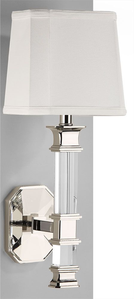 Solid Crystal Sconce With Polished Nickel Details; Wall Lighting Ideas;  Crystal Lighting; #