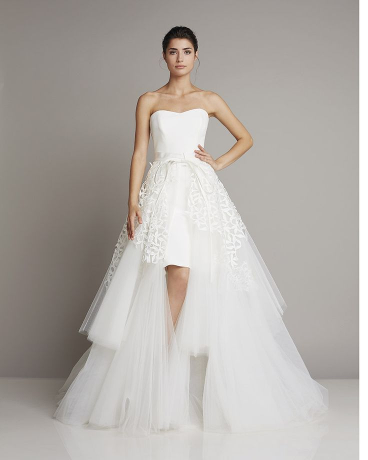 Extravagant strapless mullet wedding dress in A-line tiered tulle skirt by Giuseppe Papini