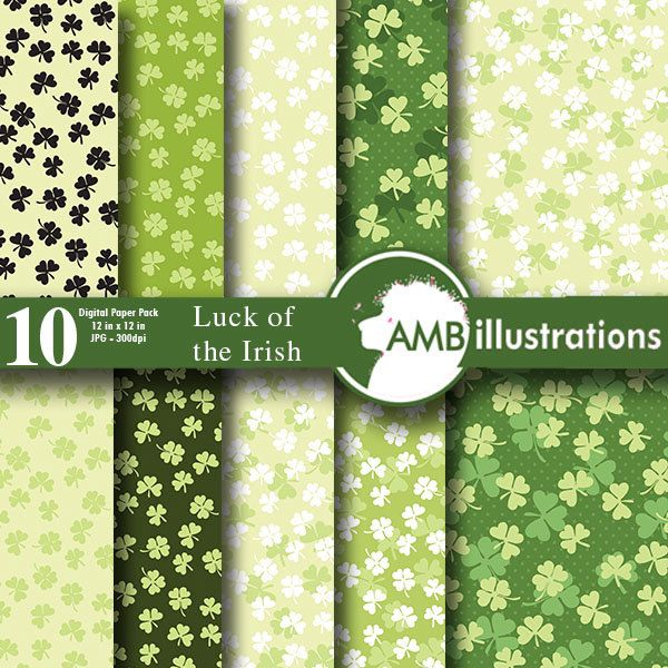 80%OFF Irish papers Luck of the Irish papers Saint Patricks Day commercial-use digital papers AMB-443