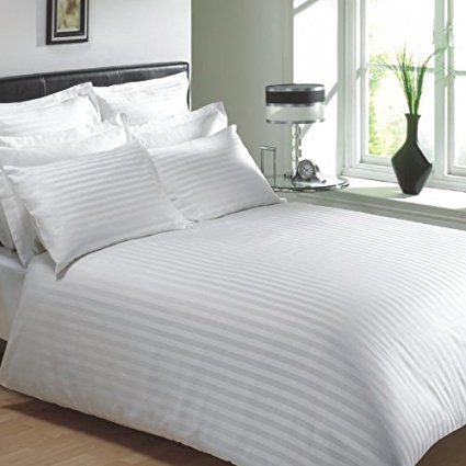 VICEROY BEDDING 100% Egyptian Cotton, CLASSIC STRIPE Duvet Cover, White, Double Bed Size, 400 Thread Count
