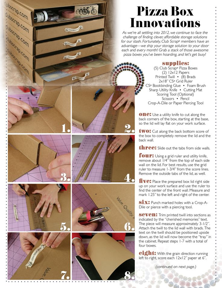 "February 2012 ""Full Circle"" Pizza Box Storage - super great idea!"
