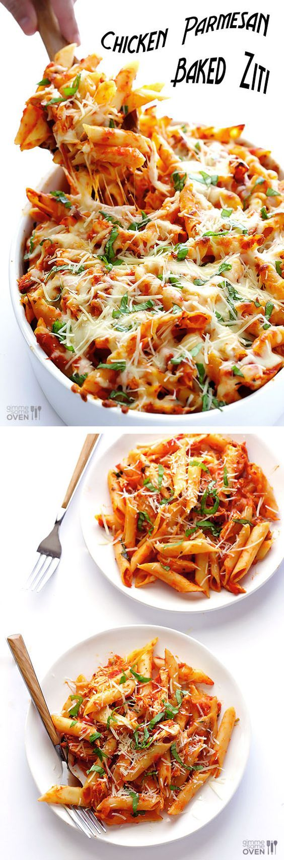 Chicken Parmesan Baked Ziti: This quick recipe mashup only calls for 6 simple ingredients including quite a bit of mozzarella cheese, which makes everything ooey and gooey and wonderful. Ridiculously delicious and comforting!