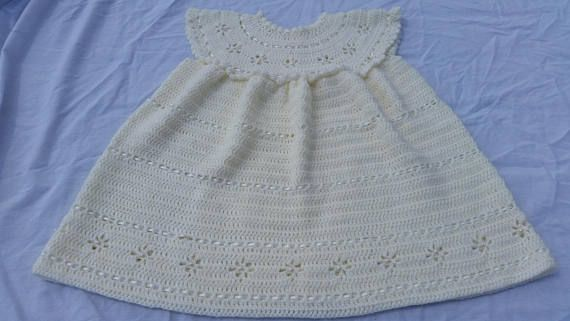 Hand crocheted cream girl's dress special occasion