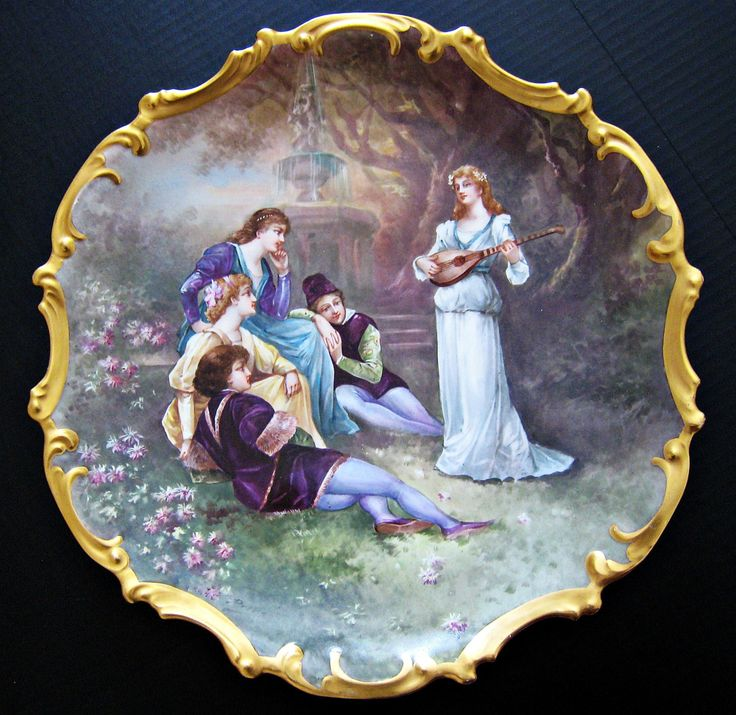 """Antique French Limoges Hand Painted Porcelain Charger Plate Signed Dubois 15½"""", ca. 19th Century"""