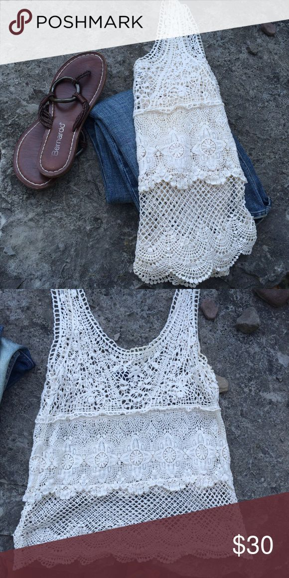 Beautiful Open Weave Tank by American Eagle NWOT Beautiful tank top in excellent condition. 100% cotton. Dry clean. American Eagle Outfitters Tops Tank Tops