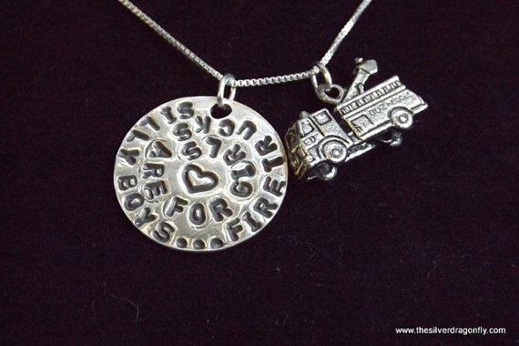 Female Firefighter necklace Female by silverdragonfly260 on Etsy