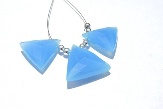 3 Pcs Trios Very Beautiful Natural Neon Blue Chalcedony Faceted Trillion Shaped Beads Size 18 - 15 MM