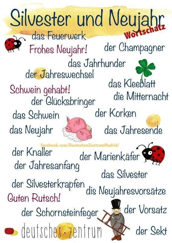 Silvester Und Neujahr Deutsch Lernen Deutsch Englisch Franzosisch Deutsch Deutsch German Language Learning German Grammar Learning German Worksheets