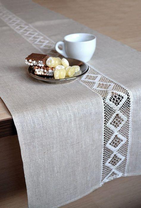Tabla tan corredor mesa decoración con manteles de encaje corredor lino Natural…