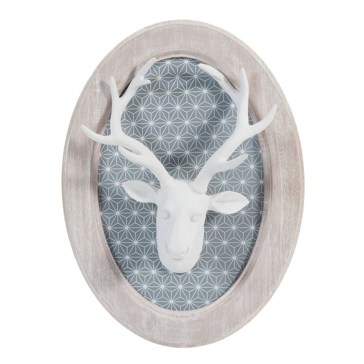 snow wooden stag wall decoration x on maisons du monde take your pick from our furniture and. Black Bedroom Furniture Sets. Home Design Ideas
