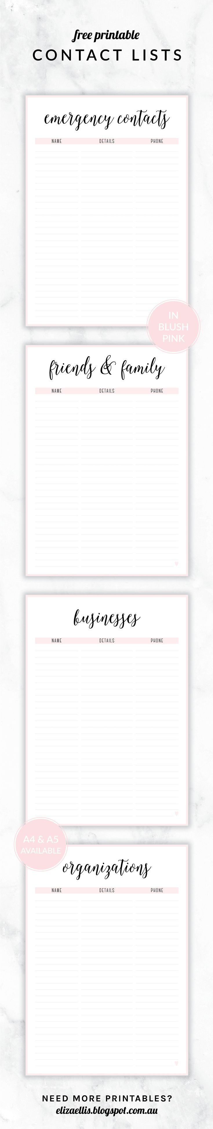 Free Printable Irma Contact Lists // Eliza Ellis. Including Emergency Contact…