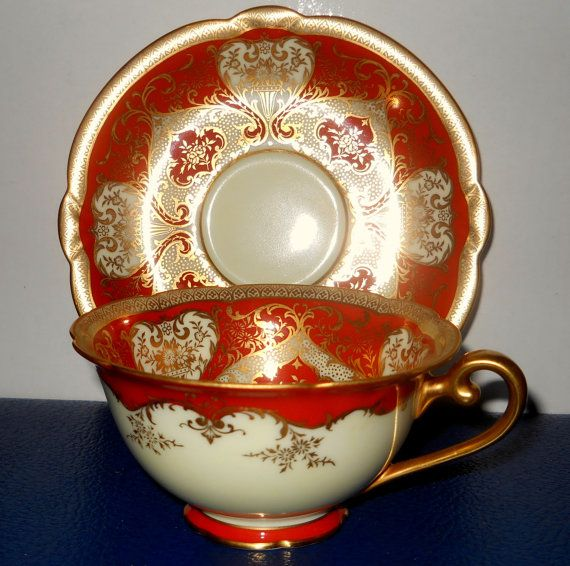 Antique Rare Tea Cup and Saucer Set  Red Gold Gilt circa 1930 by silkysatins on Etsy, $57.00