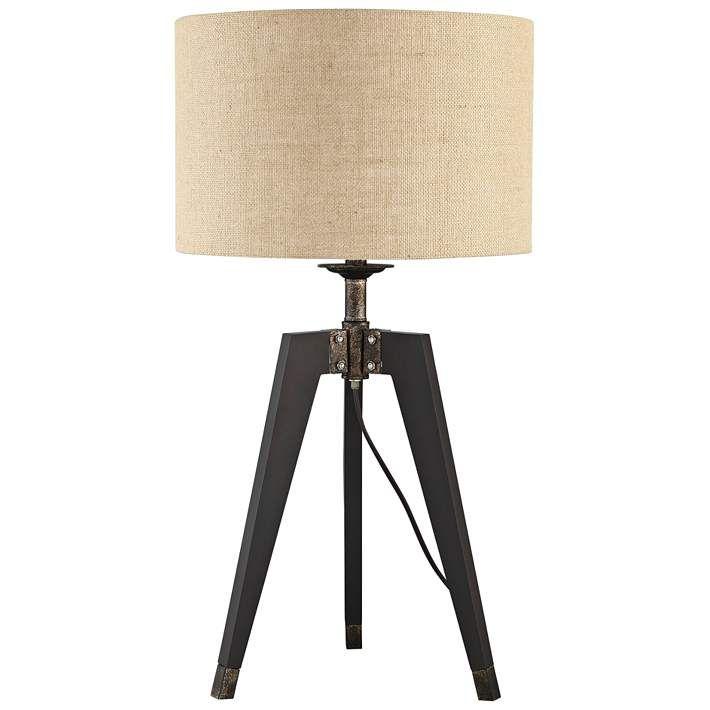 Lite Source Wellor Black Metal Tripod Table Lamp 69r71 Lamps Plus In 2021 Tripod Table Table Lamp Wood Tripod Table Lamp