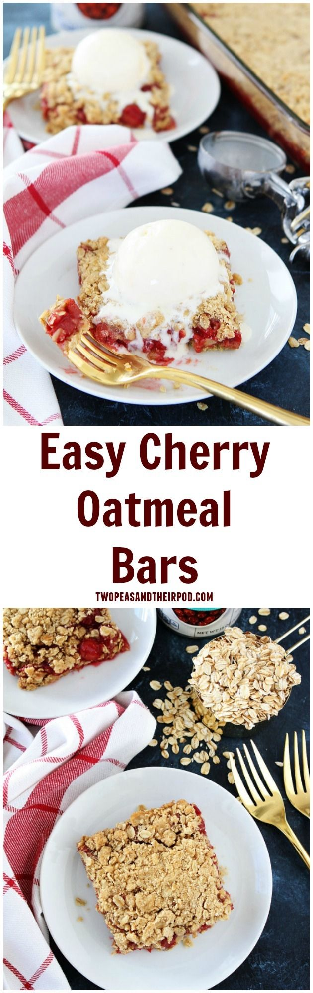 Easy Cherry Oatmeal Bars Recipe on twopeasandtheirpod.com If you like cherry pie you will LOVE these easy cherry dessert bars! They are a family favorite!